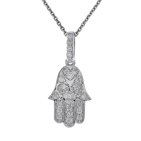 PLATINUM SILVER DIAMOND SET HAMSA HAND OF GOD BRACELET